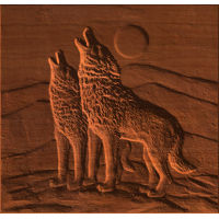 Two Wolves Howling at Moon
