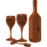 Wine Bottle and Glasses with Cork