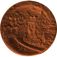 Cottages By River - On Concave Disc