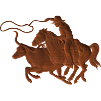 Cowboy & Bull Lassoo Scene