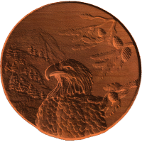 Eagle scene on concave disc