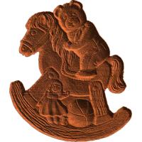 Teddy Bear On Rocking Horse - AB - 001