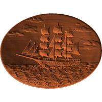 Sailing Ship Scene on Oval