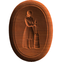Woman At Butter Churn - Oval - AB - 002