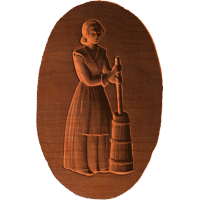 Woman At Butter Churn - Oval - AB - 003