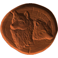 Wolf  Heads On Log - AB - 001